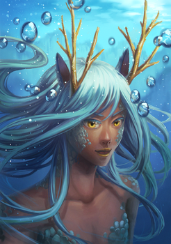 Water Dragon Girl by Kaorien
