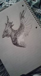 Bird/Pheonix Drawing W.I.P by Opithius