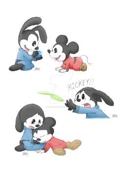 Mickey and Oswald - The Innate Power of the Brush by FaithFirefly