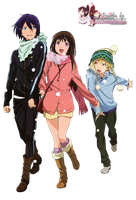 Render: Noragami - Yato, Hiyori and Yukine by Panelletdelimon
