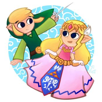 Wind Waker Link and Zelda by Chromel