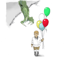 Monster and Balloon boy (Colored) by electronicdave
