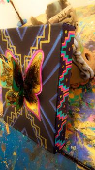 Original 3D goldleaf and acrylic beaded butterfly. by KaloOne