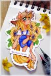 -Sunflowers and apple- by Kitten-in-the-jar