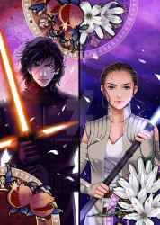 Kylo Ren and Rey by nemling