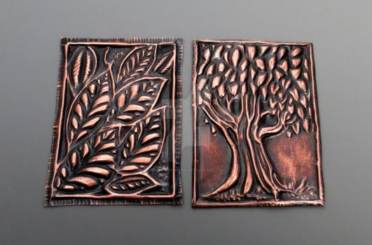 Copper Embossed ACEO Trees and Leaves by MandarinMoon