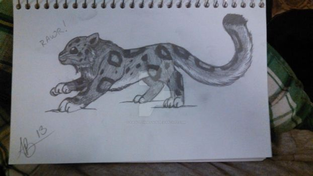 chibi snow leopard by PaintedWulf1435
