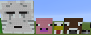 Pixel art ghast, pig, chicken, cow, silverfish by Votre-texte-ici