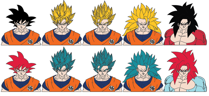 Goku (comparison of forms) by Cyclone97