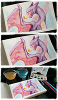 Shiny Charizard in Watercolors by rivliex
