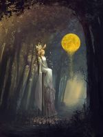 Bride in forest by tahra