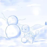 Squirtle in Snow by steffy-beff