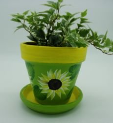 Bright and Sunny Hand Painted Sunflower pot by sweetpie2