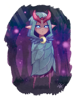 The goddess and the night forest by FelipeNero