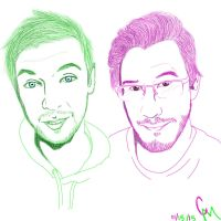 Jacksepticeye and Markiplier by Willowbreez