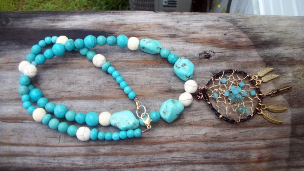 Blue Topaz and Turquoise Dream catcher by WyckedDreamsDesigns