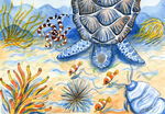 Sea Turtle - Bottom of the Sea Watercolor Painting by LoVeras