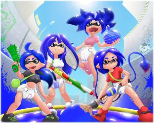 Splatoon Team (blue version) by The-Padded-Room