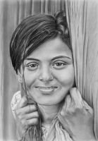 Pencil portrait of an Indian girl by LateStarter63