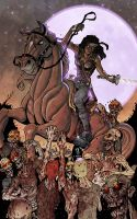 Michonne and horse vs zombies by Calzada colored by Dany-Morales