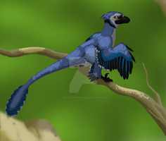 Sinornithosaurus perching by DeeJaysArt1993