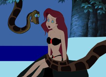 Slave Ariel and Kaa: Rest In Peace, Little GirlCub by hypnotica2002