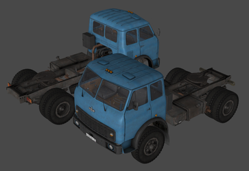 MAZ 500 tractor-trailer rig truck (Free3D) by DigitalExplorations