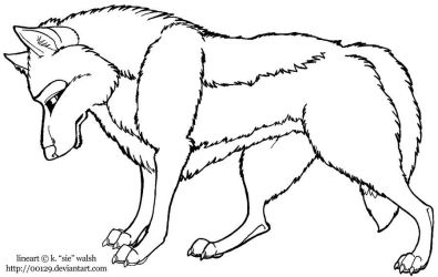 Free Standing Wolf Lineart Template by forumroleplay