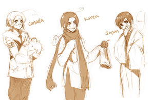 APH- Canada+Korea+japan by Arcanas-Romantica