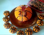 Red Bull Basketball Birthday Cake/Cupcakes by InkArtWriter
