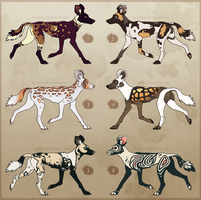 African Wild Dog Adoptables [CLOSED] by Zietro