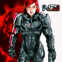 Commander Shepard Drawing by suicidebyinsecticide