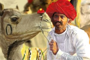 Indian man with camel by vegas9879