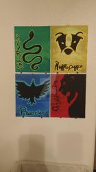 Hogwarts Houses 8x10 Set of 4 by wolf-girl87