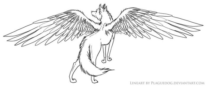 Winged Wolf Lineart by Plaguedog