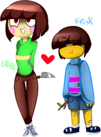 Chara and Frisk by KarlaDraws14