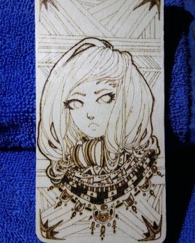 First Pyrography Bookmark by HeadPhonz