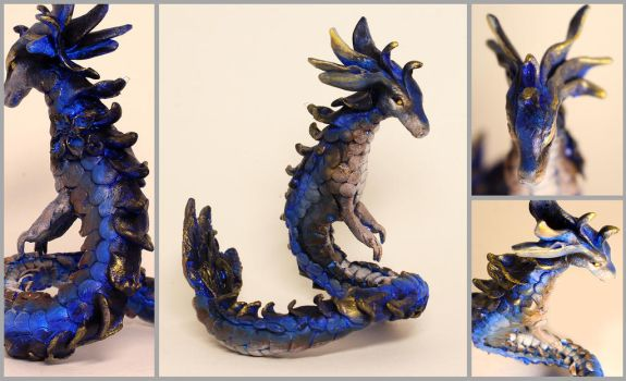 Hyacinth the Blue and Gold Dragon Sculpture by LuxDani