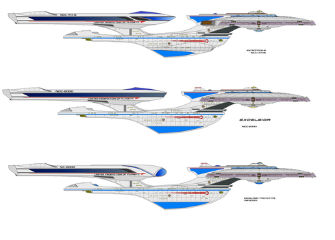 Alternate universe Excelsior class starships by trav3000
