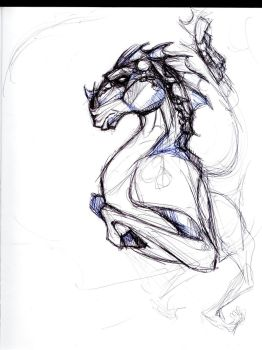 Dragon creature sketch by Luderdorf
