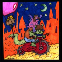 Midnight Mischief-Making Monsters on a Motorcycle! by MrReese-Mysteries