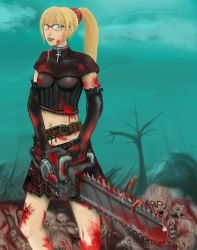 Chainsaw Girl by necrophadian
