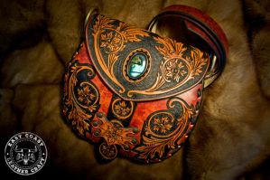 Victorian Style Leather Purse with Labradorite by EastCoastLeather