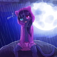 Speed Paint - Meowwying in the Rain by luminaura