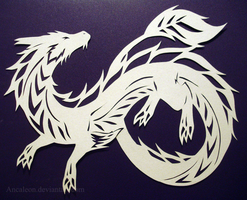 Papercutting: Dragon by Ancaleon