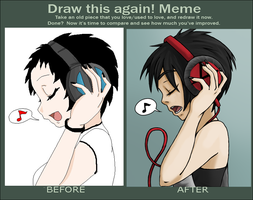 Meme  Before And After- Humanized Alex by Draga-08