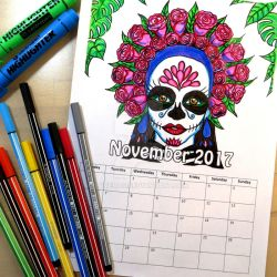 Sugar Skull Girl Coloring Calendar by LoVeras