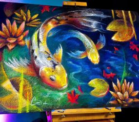 Koi Fish Chalk Art by charfade
