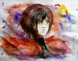 Ruby Rose Watercolor by anjyil