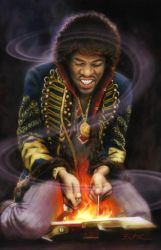 Jimi Hendrix on Fire by Cynthia-Blair
